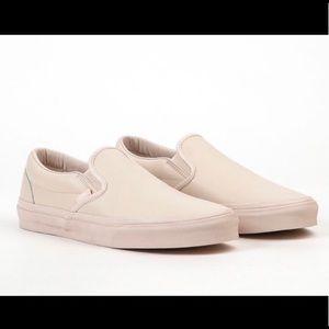 Beige leather slip on Vans